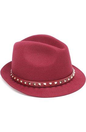 Шляпа Valentino Garavani из ангоры с кожаным ремешком и заклепками | Фото №1