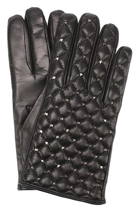 Кожаные перчатки с металлизированной отделкой  | Фото №1