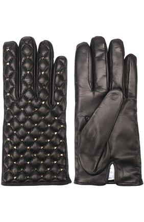 Кожаные перчатки с металлизированной отделкой  | Фото №2