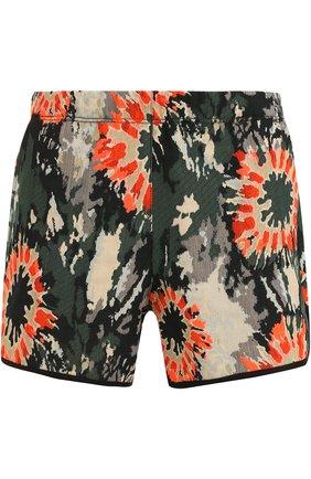 Мини-шорты с цветочным принтом Raquel Allegra разноцветные | Фото №1