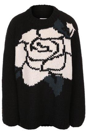 Пуловер свободного кроя с круглым вырезом Mm6 черно-белый   Фото №1