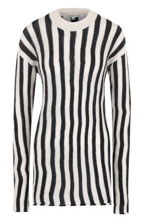 Удлиненный пуловер в полоску с круглым вырезом | Фото №1