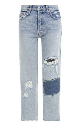 Укороченные джинсы прямого кроя с потертостями GRLFRND голубые | Фото №1