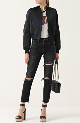 Укороченные джинсы прямого кроя с потертостями GRLFRND черные | Фото №1