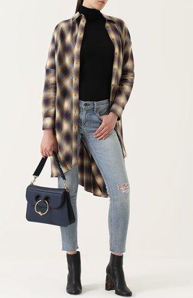 Укороченные джинсы-скинни с потертостями Rag&Bone голубые | Фото №1