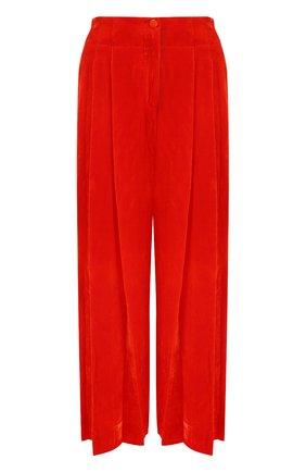 Укороченные бархатные брюки с защипами Raquel Allegra красные | Фото №1