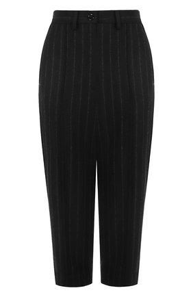 Укороченные шерстяные брюки в полоску Mm6 черные   Фото №1