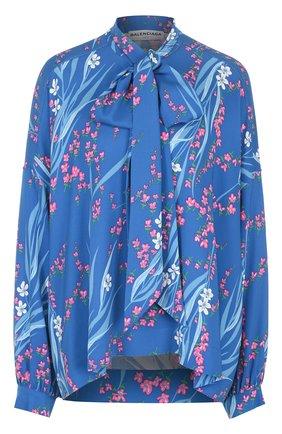 Блуза свободного кроя с принтом и воротником аскот | Фото №1