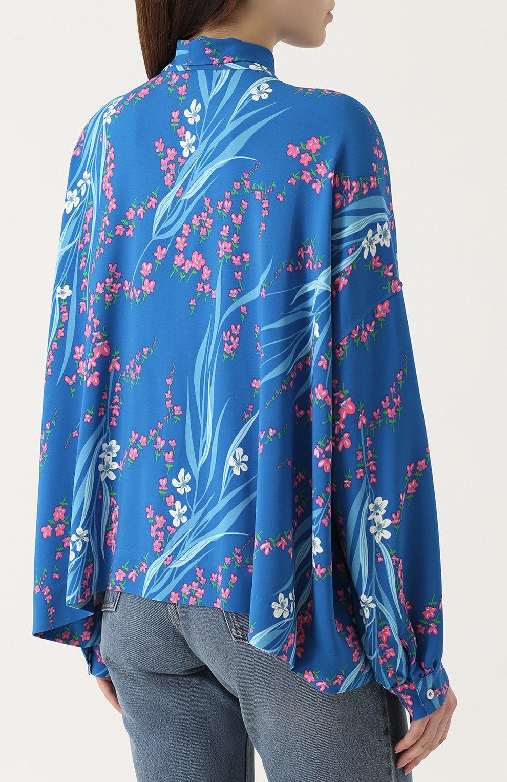 eac804ad394 Женская голубая блуза свободного кроя с принтом и воротником аскот ...