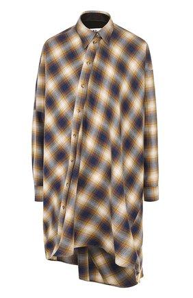 Удлиненная блуза свободного кроя в клетку | Фото №1