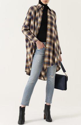 Женская удлиненная блуза свободного кроя в клетку Mm6, цвет бежевый, арт. S32CT0901/S48026 в ЦУМ   Фото №1
