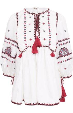 Топ с контрастной вышивкой и укороченным рукавом Talitha белый   Фото №1