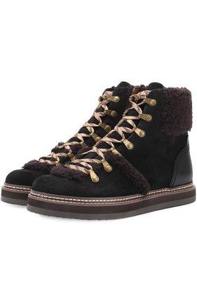 Комбинированные ботинки с меховой отделкой See by Chloé черные   Фото №1