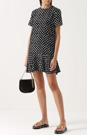 Кожаные шлепанцы с декоративной отделкой Dolce & Gabbana черно-белые | Фото №2