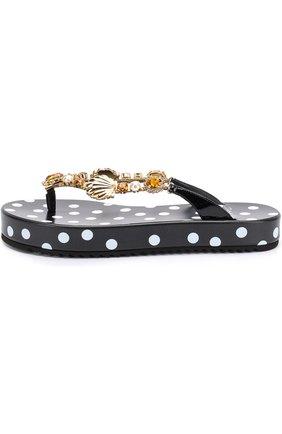 Кожаные шлепанцы с декоративной отделкой Dolce & Gabbana черно-белые | Фото №3