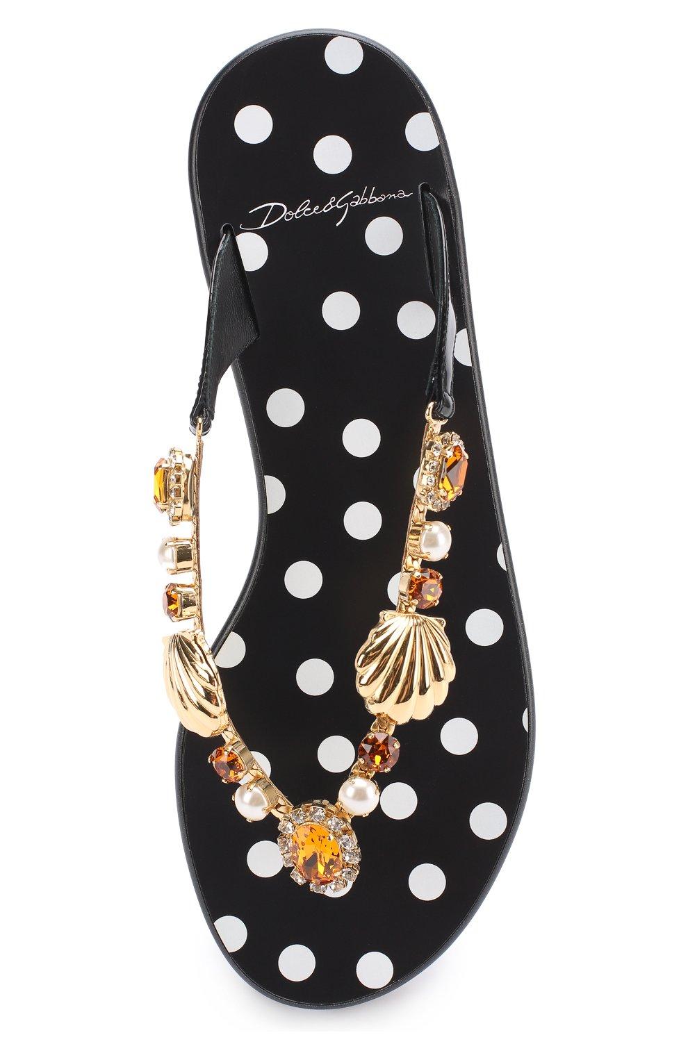 Кожаные шлепанцы с декоративной отделкой Dolce & Gabbana черно-белые | Фото №5
