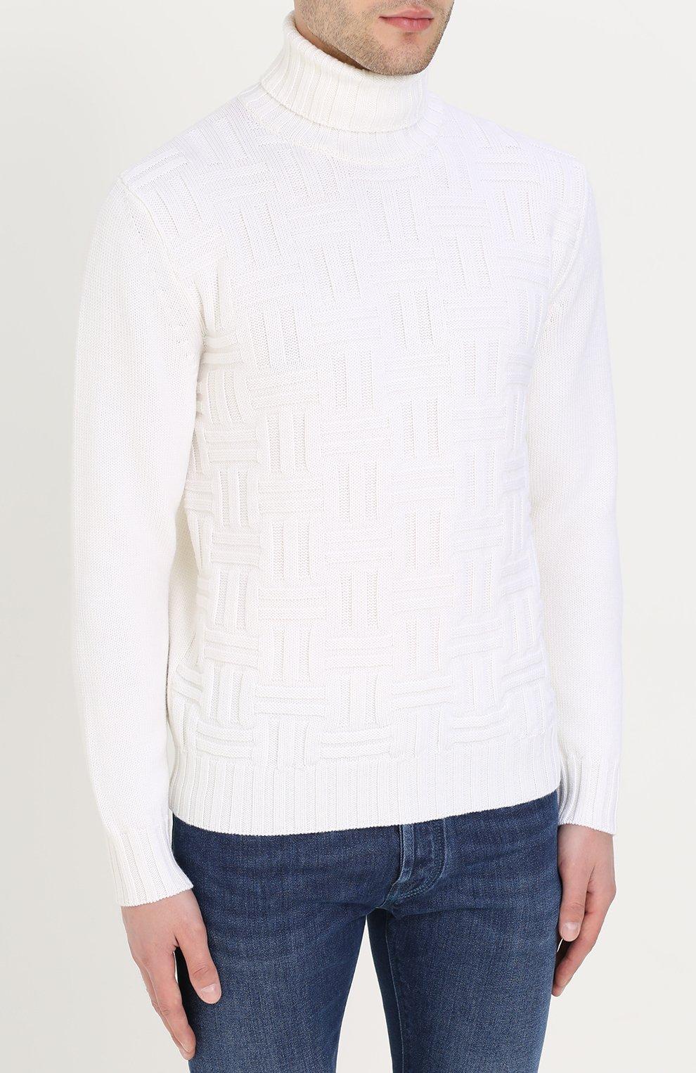 Шерстяной свитер фактурной вязки с воротником-стойкой | Фото №3