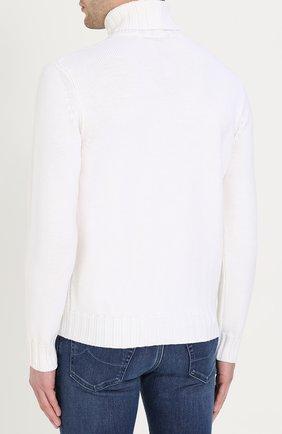Шерстяной свитер фактурной вязки с воротником-стойкой | Фото №4