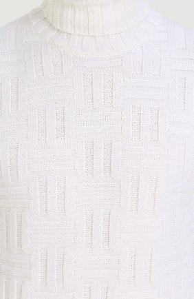 Шерстяной свитер фактурной вязки с воротником-стойкой | Фото №5