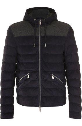 Замшевая куртка на молнии с капюшоном