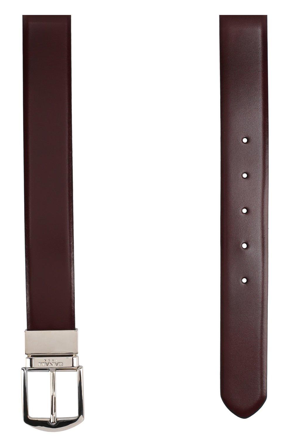Мужской кожаный ремень с металлической пряжкой CANALI бордового цвета, арт. 50/KA00036 | Фото 2