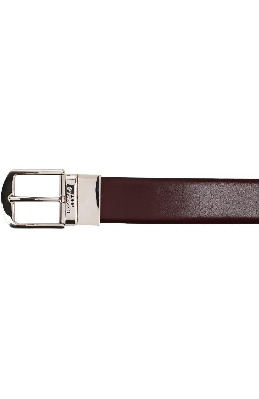 Мужской кожаный ремень с металлической пряжкой CANALI бордового цвета, арт. 50/KA00036 | Фото 3