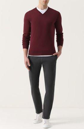 Шерстяной однотонный пуловер | Фото №2