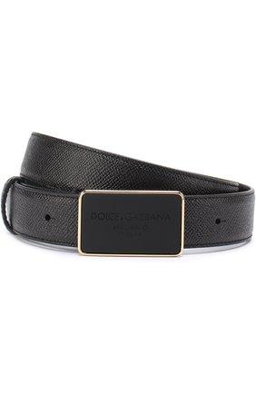 Кожаный ремень с металлической пряжкой Dolce & Gabbana черный | Фото №1