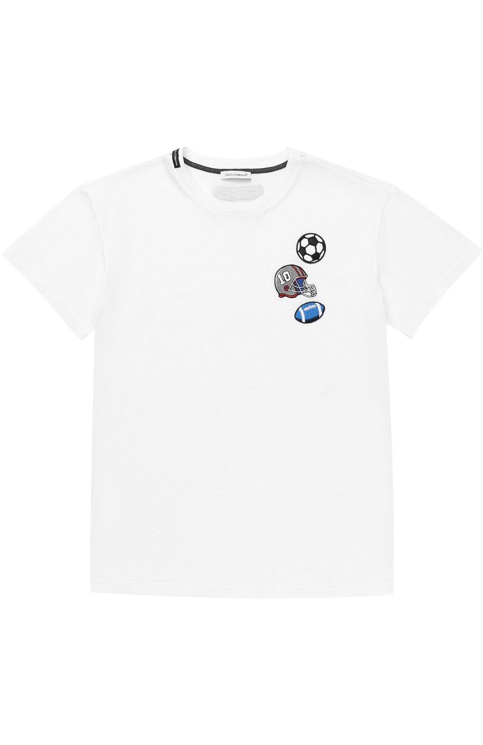 Хлопковая футболка с нашивками | Фото №1