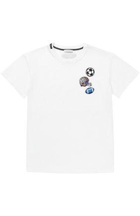 Детская хлопковая футболка с нашивками Dolce & Gabbana белого цвета | Фото №1