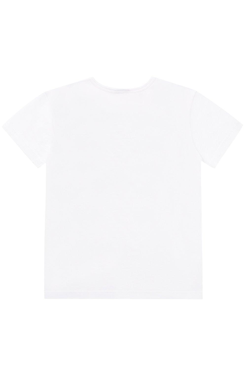 Детская хлопковая футболка с принтом Dolce & Gabbana белого цвета   Фото №2