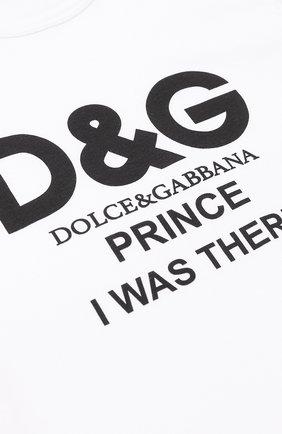 Детская хлопковая футболка с принтом Dolce & Gabbana белого цвета   Фото №3