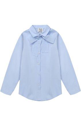 Хлопковая блуза прямого кроя с бантом | Фото №1