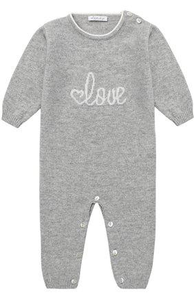 Детский кашемировый комбинезон с принтом LOVE IN KYO серого цвета, арт. A17C402/1M-6M | Фото 1