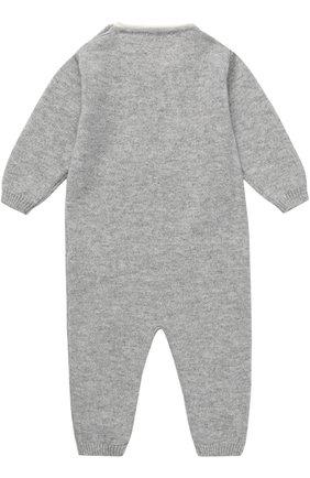 Детский кашемировый комбинезон с принтом LOVE IN KYO серого цвета, арт. A17C402/1M-6M | Фото 2