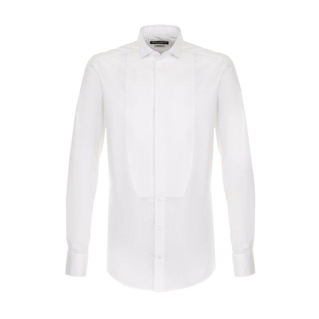 Хлопковая сорочка под смокинг с воротником бабочка Dolce & Gabbana