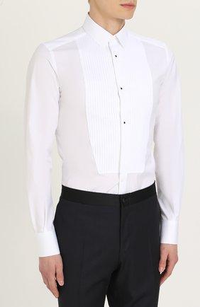 Хлопковая сорочка под смокинг  Dolce & Gabbana белая   Фото №3