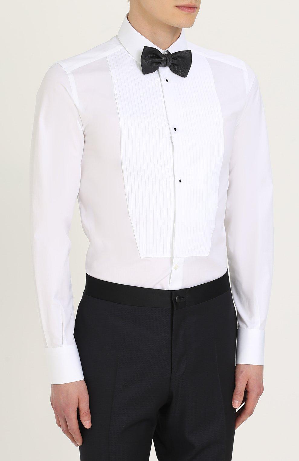 Хлопковая сорочка под смокинг  Dolce & Gabbana белая   Фото №4