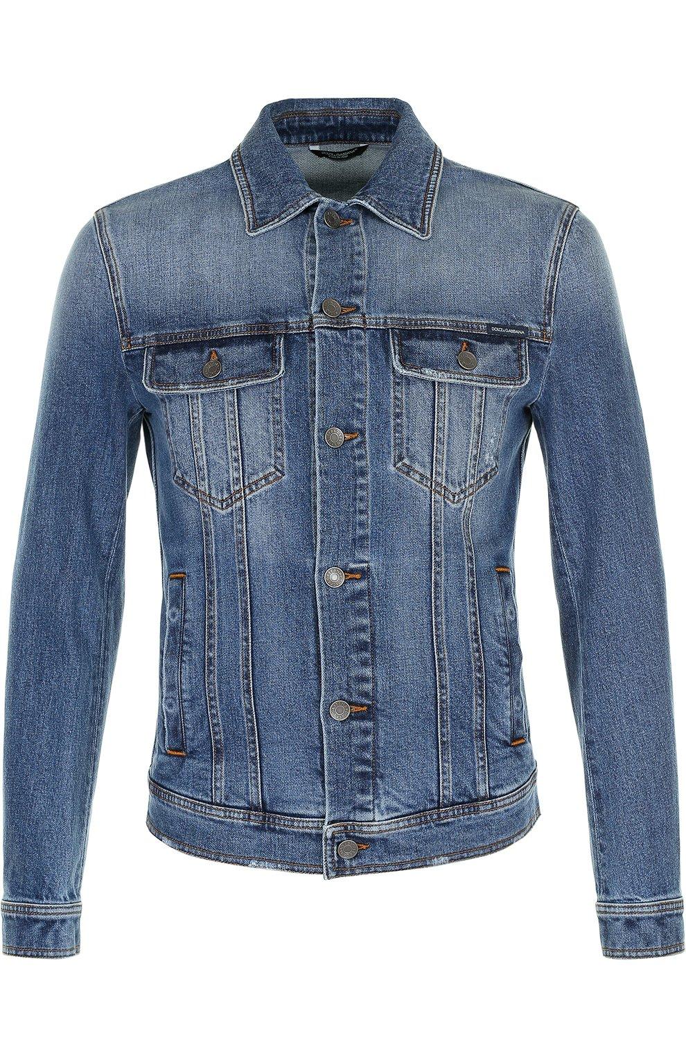 Джинсовая куртка с контрастной прострочкой   Фото №1