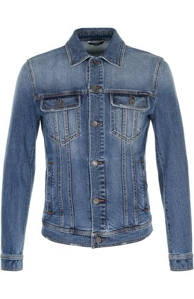 Джинсовая куртка с контрастной прострочкой Dolce & Gabbana голубая   Фото №1