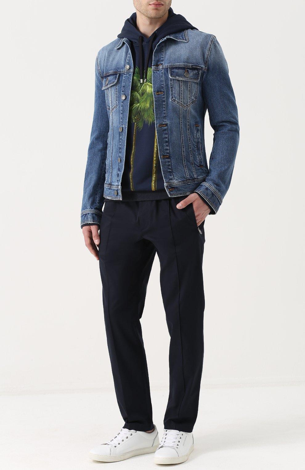 Джинсовая куртка с контрастной прострочкой Dolce & Gabbana голубая   Фото №2