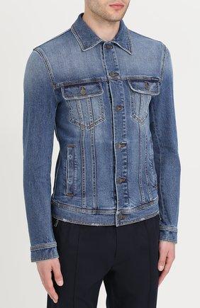 Джинсовая куртка с контрастной прострочкой Dolce & Gabbana голубая   Фото №3