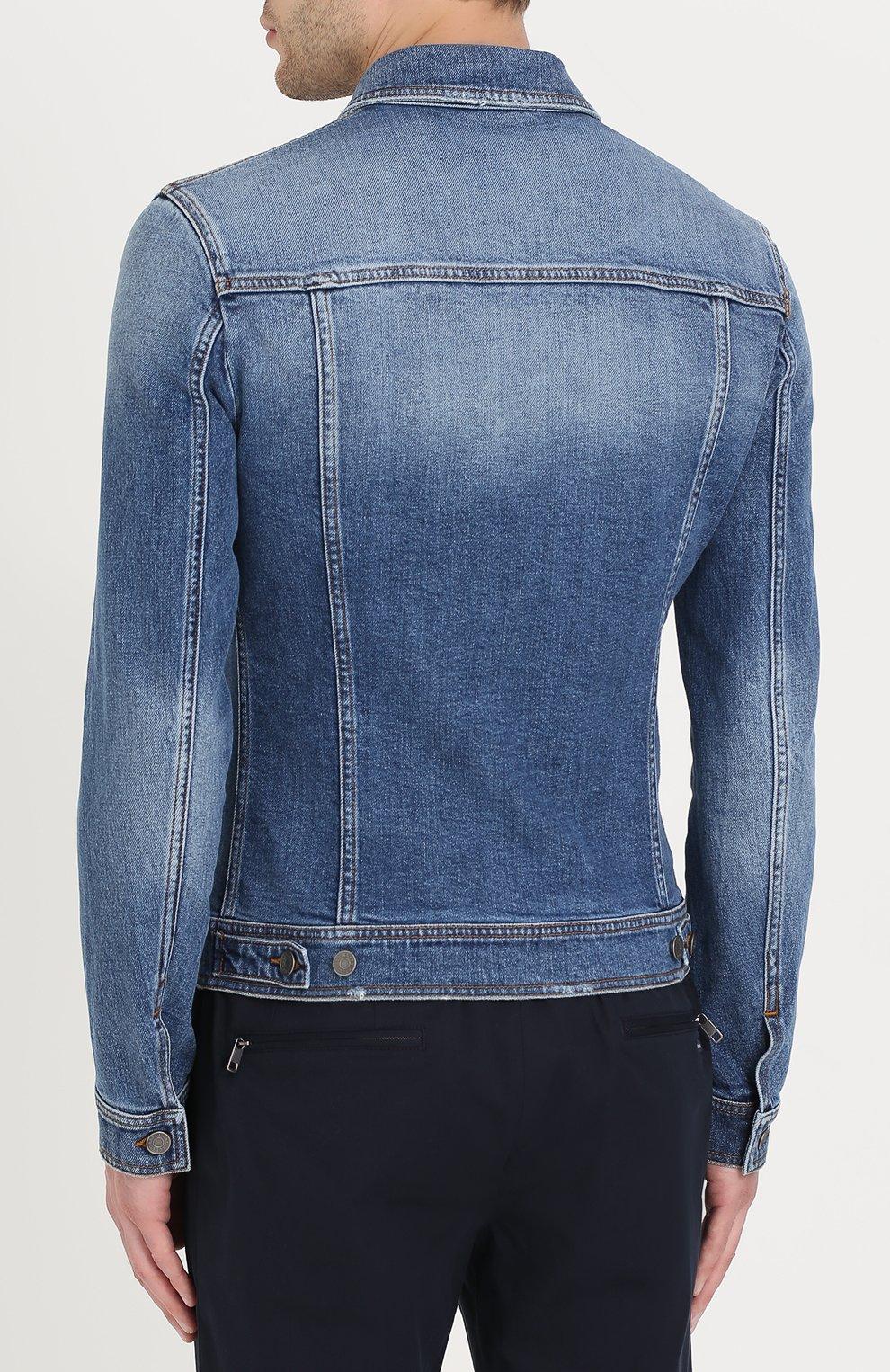 Джинсовая куртка с контрастной прострочкой Dolce & Gabbana голубая   Фото №4