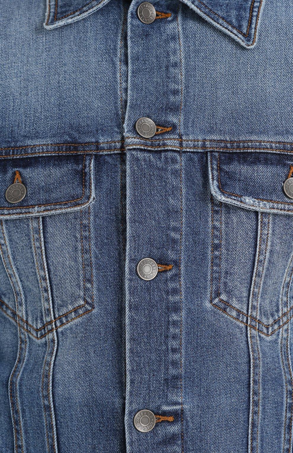 Джинсовая куртка с контрастной прострочкой Dolce & Gabbana голубая   Фото №5