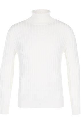 Шерстяной свитер фактурной вязки с воротником-стойкой | Фото №1