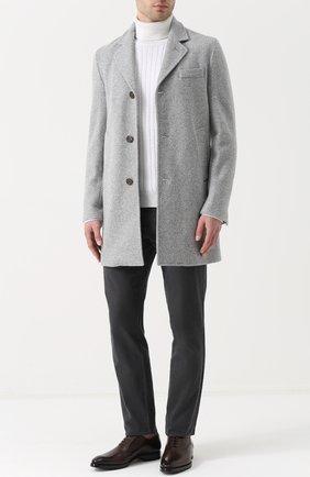Шерстяной свитер фактурной вязки с воротником-стойкой | Фото №2