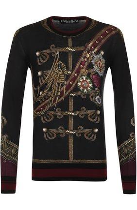 Джемпер с принтом из смеси кашемира и шелка с шерстью Dolce & Gabbana черный | Фото №1