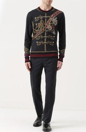 Джемпер с принтом из смеси кашемира и шелка с шерстью Dolce & Gabbana черный | Фото №2