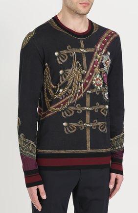 Джемпер с принтом из смеси кашемира и шелка с шерстью Dolce & Gabbana черный | Фото №3