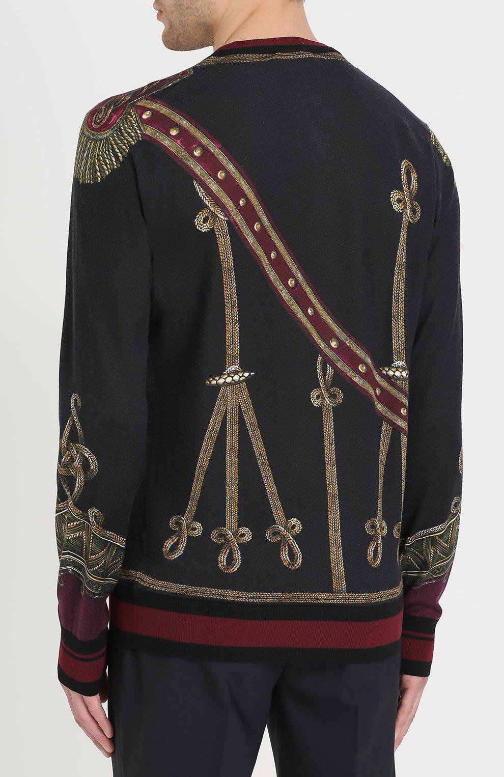 Джемпер с принтом из смеси кашемира и шелка с шерстью Dolce & Gabbana черный | Фото №4